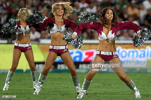 Manly cheerleaders during the round two NRL match between the Manly Warringah Sea Eagles and the South Sydney Rabbitohs at Bluetongue Stadium on...