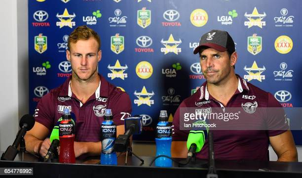 Manly coach Trent Barrett and Daly CherryEvans speak at the post match media conference at the end of during the round three NRL match between the...
