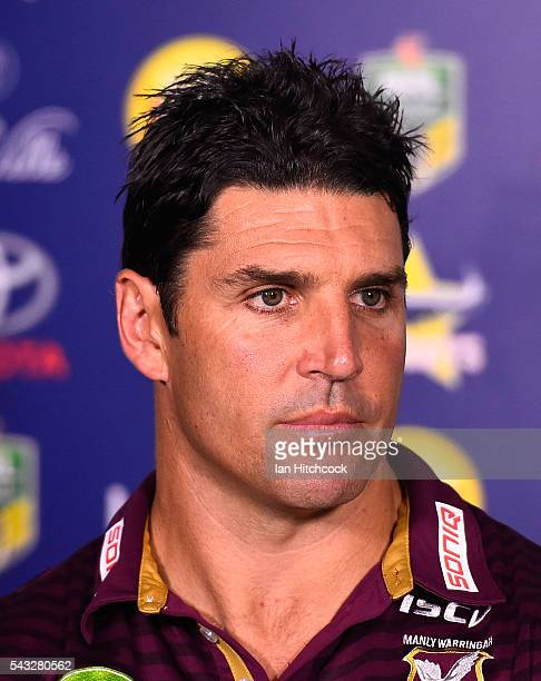 Manly coach Trent Barrett looks on at the post match media conference at the end of during the round 16 NRL match between the North Queensland...