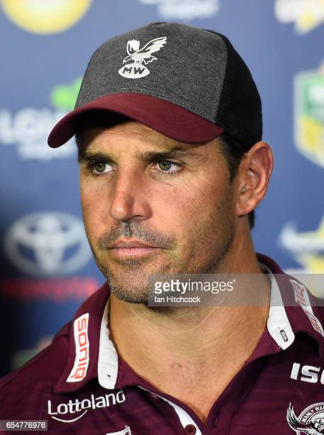 Manly coach Trent Barrett looks on at the post match media conference at the end of during the round three NRL match between the North Queensland...
