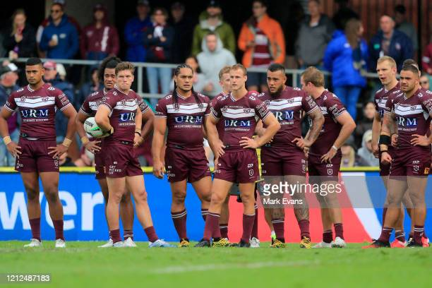 Manly players look on after conceding a try during the round 1 NRL match between the Manly Sea Eagles and the Melbourne Storm at Lottoland on March...