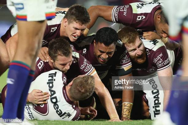 Manly Sea Eagles celebrate the win after a golden point from Daly Cherry-Evans during the round five NRL match between the New Zealand Warriors and...