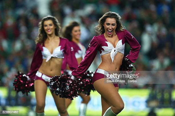 Manly's cheerleaders dance before the match against the Rabbitohs at Allianz Stadium Sydney Australia Friday 12th September 2014
