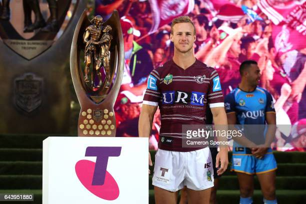 ManlyWarringah Sea Eagles captain Daly CherryEvans is introduced during the 2017 NRL Season Launch at Martin Place on February 23 2017 in Sydney...