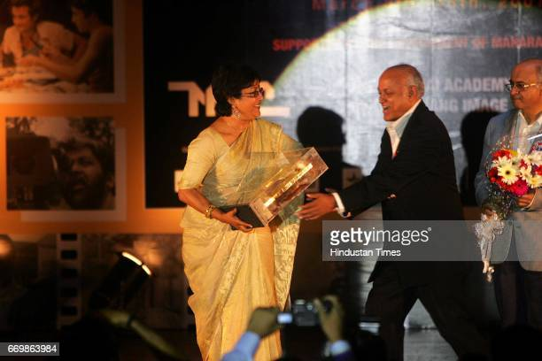 Manmohan Shetty felicitated Aparna Sen at the Closing Ceremony of MAMI at Ravindra Natya Mandir Prabhadevi