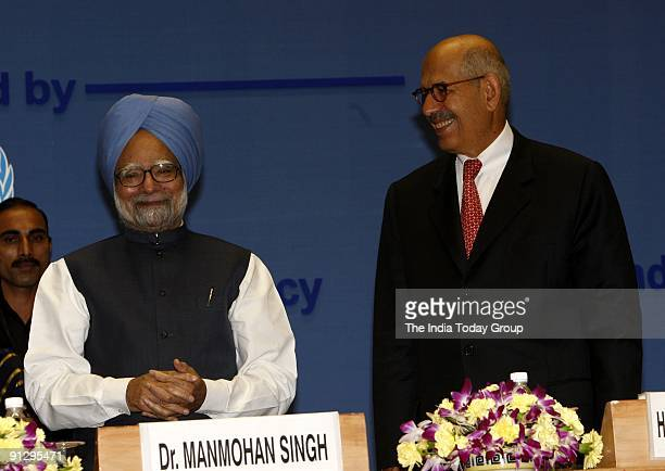 Manmohan Singh and Mohamed El Baradei at the International Conference on Peaceful Uses of Atomic Energy-2009 in New Delhi.