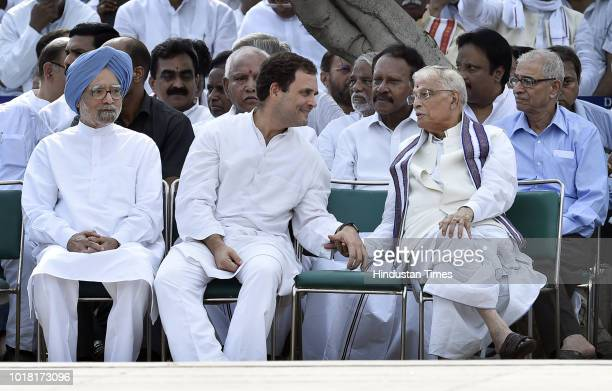Manmohan Singh Former Prime Minister of India along with Rahul Gandhi President of Indian National Congress and Murli Manohar Joshi BJP Leader during...