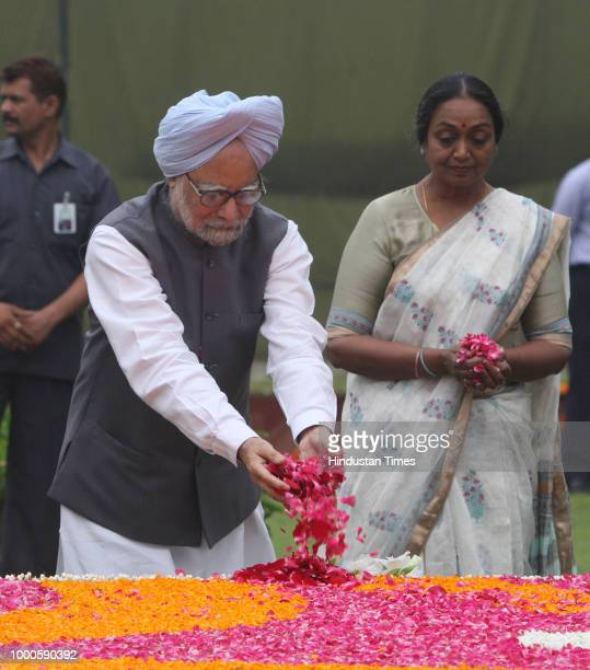 Manmohan Singh with Lok Sabha speaker Meira Kumar paying floral tribute during the 22nd death anniversary of Babu Jagjivan Ram on July 6 2008 in New...