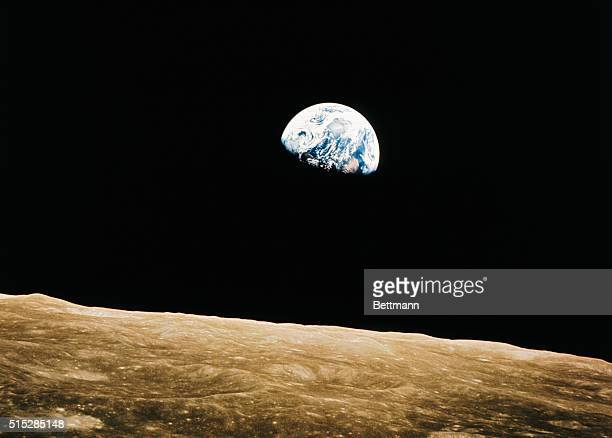 Manned Spacecraft Center Houston Texas Apollo 8 This view of the rising Earth greeted the Apollo 8 astronauts as they came from behind the moon after...