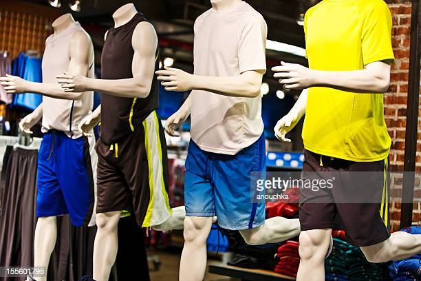 mannequin at fashion store - sports clothing stock pictures, royalty-free photos & images