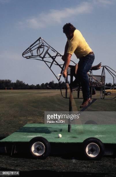 Mannequin d'entrainement pour le polo à Gulf Stream, en janvier 1982, en Floride, Etats-Unis.