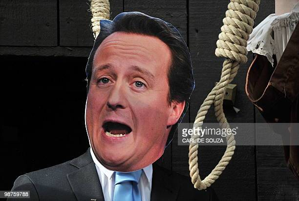A mannequin depicting British Prime Ministerial candidate David Cameron is pictured during a photocall to illustrate a 'Hung Parliament' outside the...