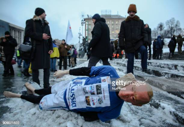 A mannequin depicting Russian President Vladimir Putin dressed in a football uniform during the quotStop Putin Stop warquot rally and quotKick Out...