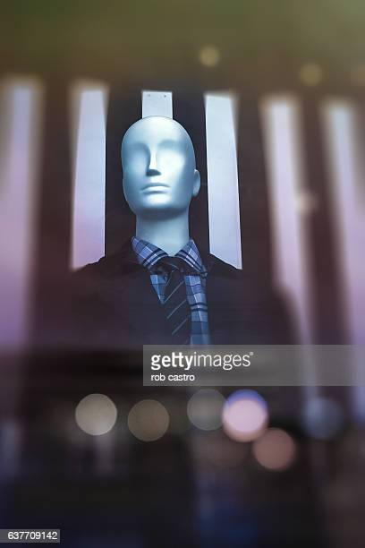 mannequin displayed on a window - rob castro stock pictures, royalty-free photos & images