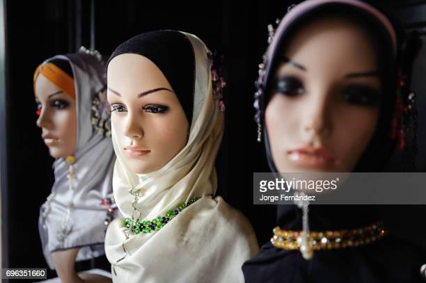 KUCHING SARAWAK / BORNEO MALAYSIA Mannequin displaying headwear for muslim women