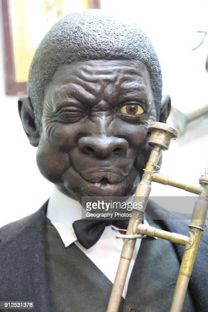 Mannequin figure black male jazz musician inside famous historic Los Gatos Cervecerias bar Madrid Spain