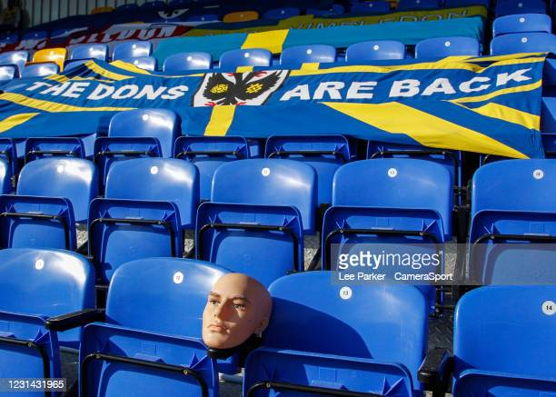 Mannequin head in the stands at Plough Lane during the Sky Bet League One match between AFC Wimbledon and Hull City at on February 27, 2021 in...