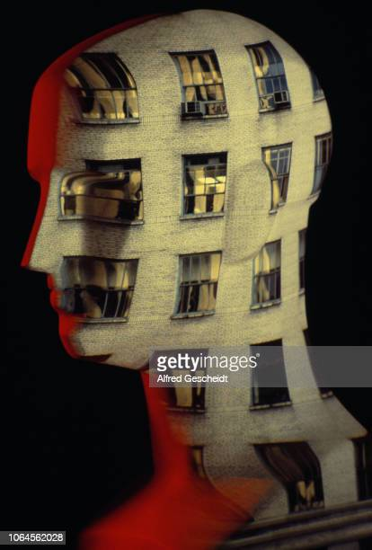 A mannequin head with a facade of a building superimposed onto it US 1983