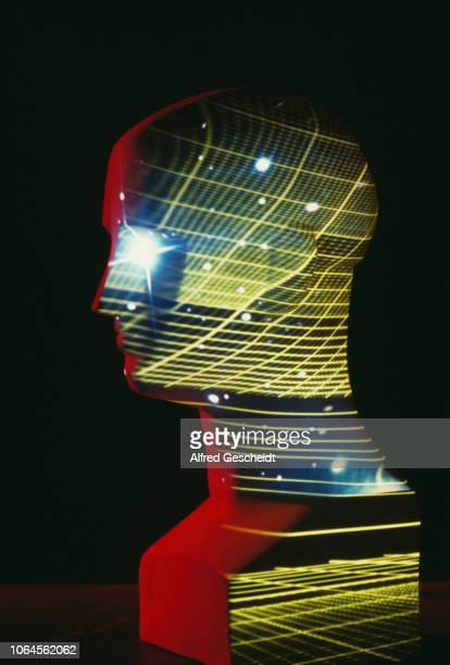 A mannequin head with an image of a stars and a computerised grid superimposed over it US 1985
