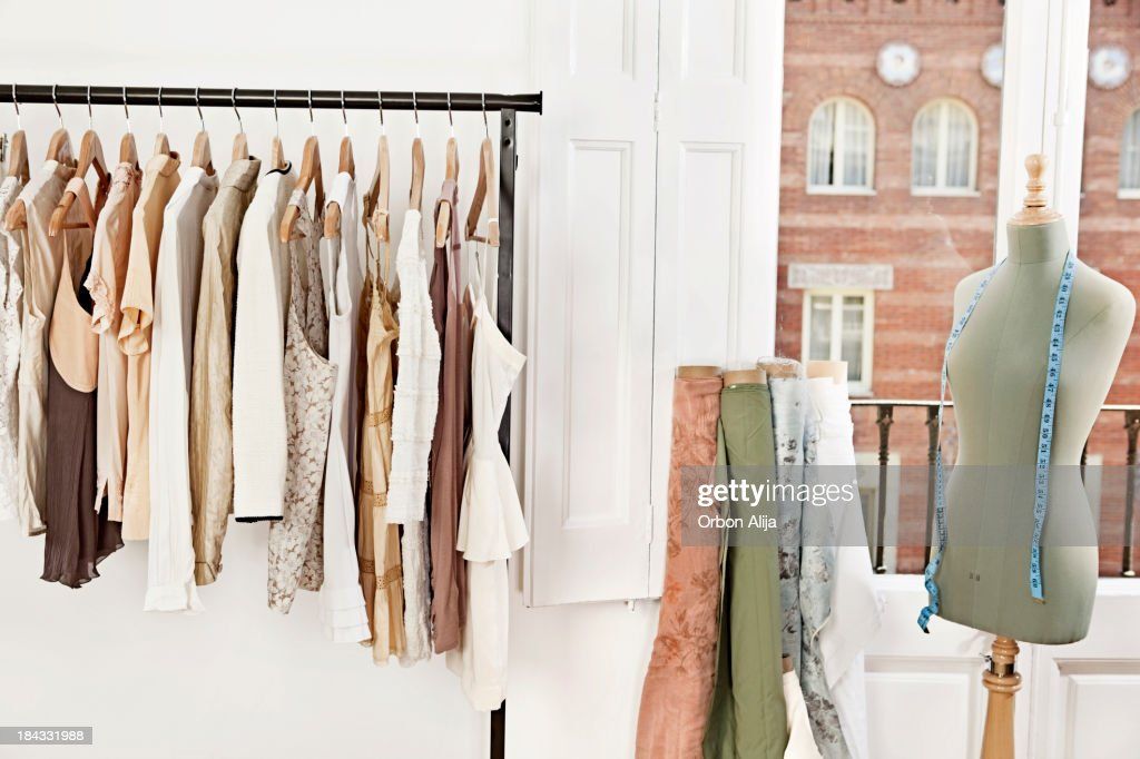 Mannequin in fashion designer's studio : Stock Photo