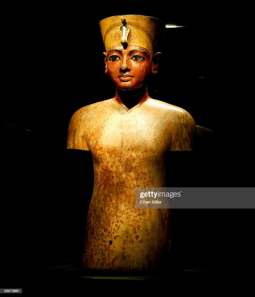 Mannequin (bust of Tutankhamun) is on display during the 'Tutankhamun And The Golden Age Of The Pharaohs' Exhibit Opening at the Los Angeles County Museum of Art (LACMA) on June 15, 2005 in Los Angeles, California. Carved of wood and then covered in gesso and painted, this bust of Tutankhamun portrays the young king much more as a youthful figure than a divine being.