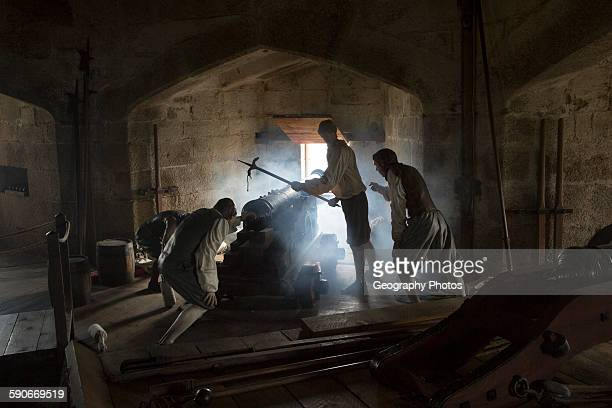 Mannequin models recreate battle scene inside Pendennis castle Falmouth Cornwall England UK