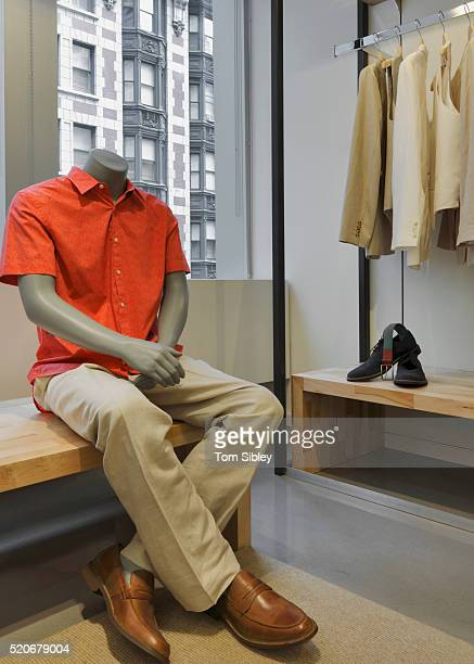 Mannequin on bench