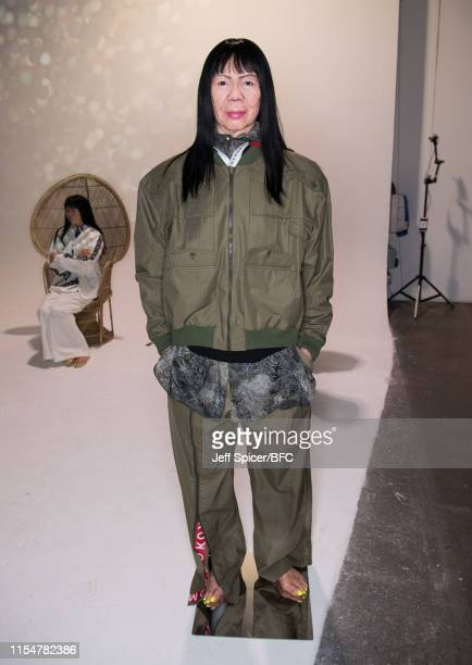 A mannequin resembling designer Michiko Koshino wears a creation during her presentation at London Fashion Week Men's June 2019 at the Shoreditch...