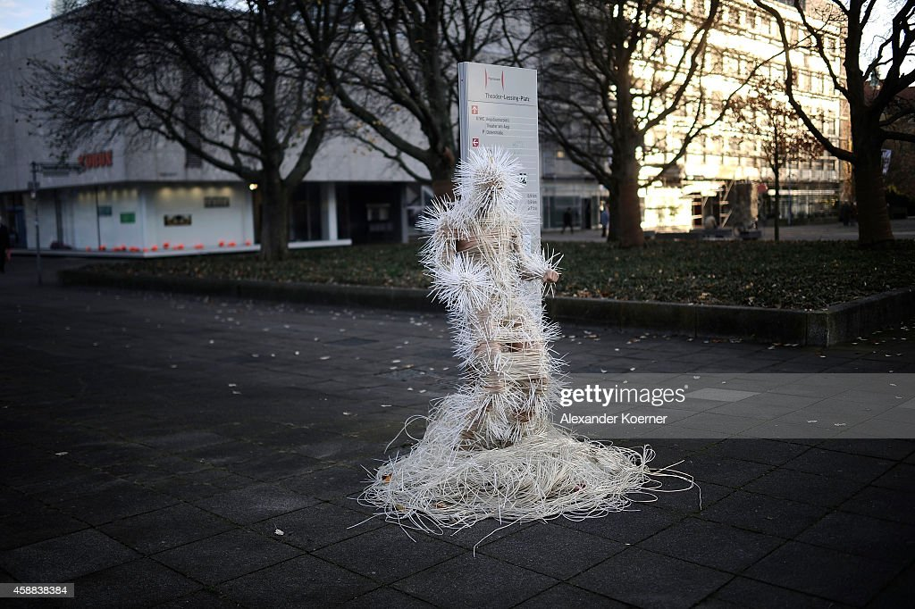 A mannequin, which is wrapped with clothesline and spiked with cables ties, stands on Theodor-Lessing Platz on November 12, 2014 in Hanover, Germany. The mannequin was built by members of the Deaf Society of Lower Saxony in cooperation with the artist Kerstin Schulz (not pictured) linked with the exhibition 'PENvolution'. The next stop for the exhibition will be Bristol, UK, in 2015.
