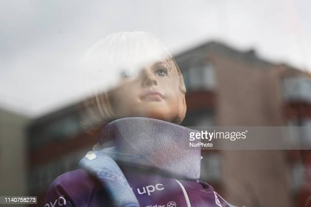A mannequin with a neck brace is seen in Bucharest Romania on May 1 2019