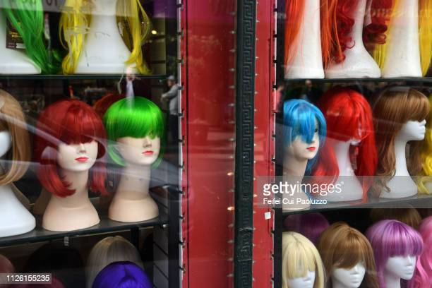 mannequin with violet colored wig at downtown san francisco, california, usa - wig stock pictures, royalty-free photos & images