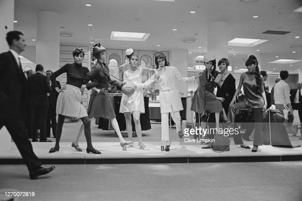 Mannequins at the new Miss Selfridge boutique, a concession at the Selfridges store on Duke Street in London, 12th September 1966.