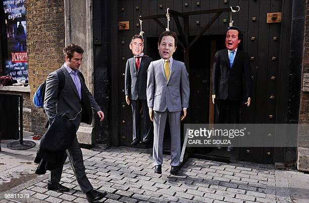 Mannequins depicting British Prime Ministerial candidates Gordon Brown Nick Clegg and David Cameron are pictured during a photocall to illustrate a...