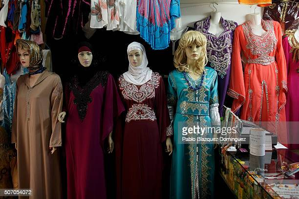 Mannequins display dresses at a Muslim clothes shop on January 30 2015 in Madrid Spain More than 17 million Muslims live in Spain which is around the...