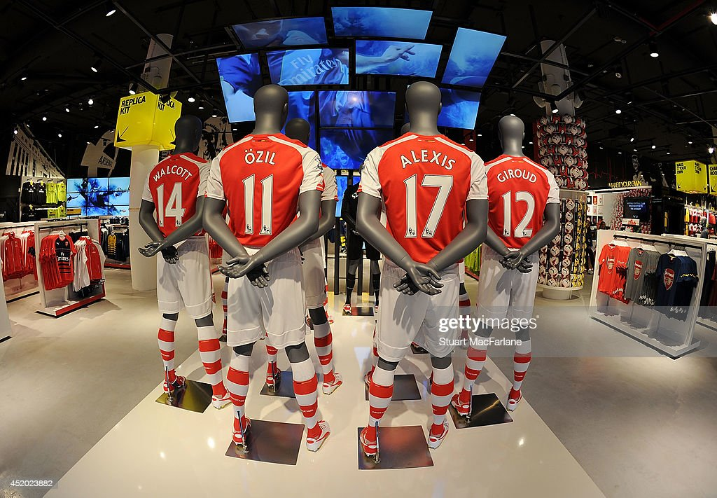 Mannequins display the shirts of Mesut Ozil and new signing Alexis Sanchez as the new Armoury Store is opened at Emirates Stadium on July 11, 2014 in London, England.