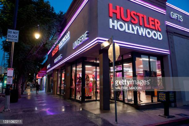 Mannequins in lingerie are seen in the window of the Hustler Hollywood store on February 10, 2021 in Hollywood, California. - US porn mogul Larry...