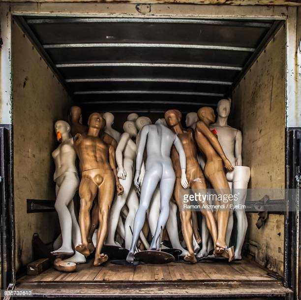 mannequins in semi-truck - male likeness stock pictures, royalty-free photos & images
