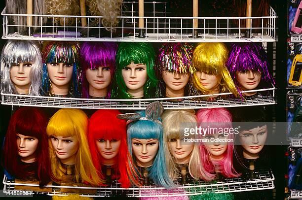Mannequins Wearing Wigs Blackpool Lancashire England United Kingdom