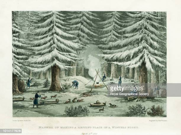 Manner of making a resting place on a winter's night From 'Narrative of a journey to the shores of the Polar Sea in 181922 with an appendix on...