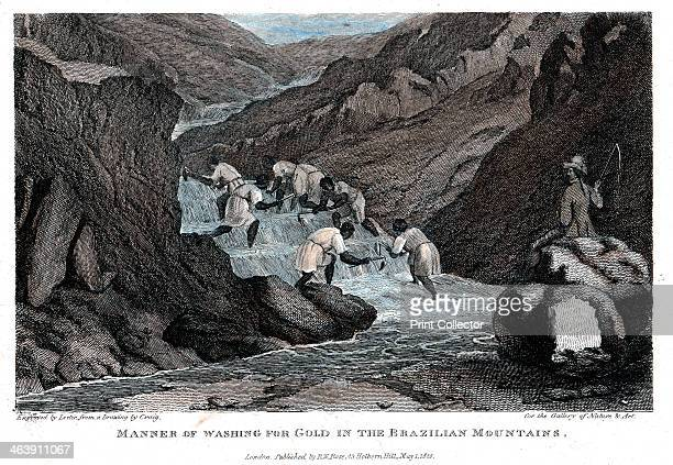 'Manner of Washing for Gold in the Brazilian Mountains' 1814 Negro slaves washing for alluvial gold watched over by a slave master brandishing a whip...