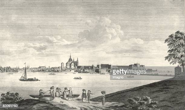 Mannheim Elector's castle court church and armory seen from the south Engraving by J Rieger [Mannheim Kurfrstliches Schlo Hofkirche und Zeughaus von...