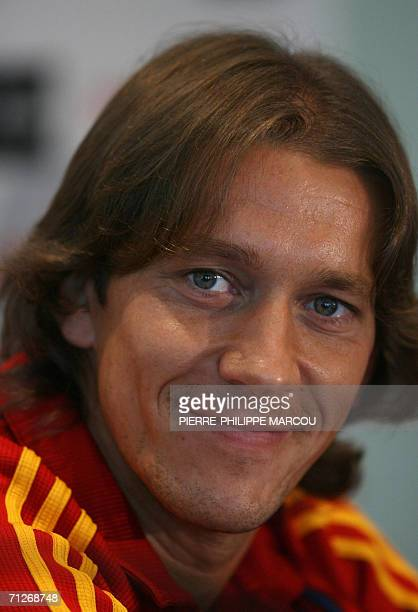 Spanish defender Michel Salgado smiles during a news conference prior to a training session in Mannheim, 22 June 2006. Spain will play their next...