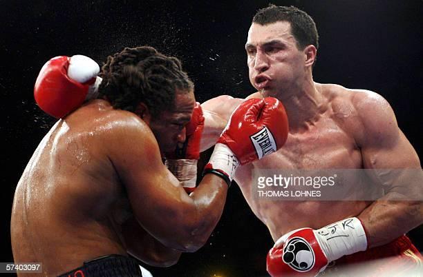 Ukrainian heavyweight boxer Wladimir Klitschko fights current IBF heavyweight champion Chris Byrd in Mannheim late 22 April 2006. Klitschko knocked...