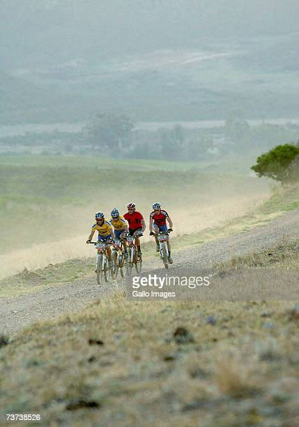 Mannie Heymans from Namibia leads MTN Raleigh team mate BenMelt Swanepoel Brandon Stewart and Shan Wilson all from South Africa on an early morning...