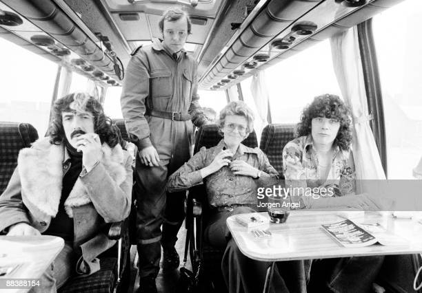 Manny Charlton a Swedish policeman Elisabeth Skovdam and Dan McCafferty on the tour bus of Scottish rock band Nazareth while the bus was searched for...
