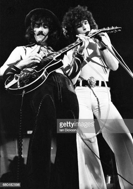 Manny Charlton and Dan McCafferty of Nazareth performing on stage at City Hall Newcastle upon Tyne 15 May 1974 on tour promoting the album 'Rampant'