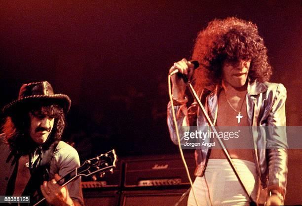 Manny Charlton and Dan McCafferty of the Scottish rock band Nazareth perform on stage in 1975 in Copenhagen Denmark