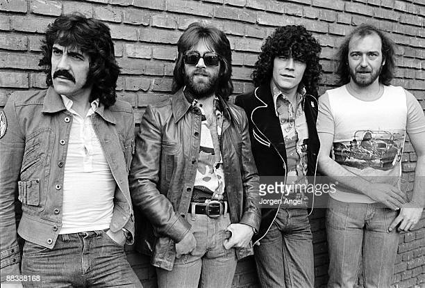 Manny Charlton Darrell Sweet Dan McCafferty and Pete Agnew of the Scottish rock band Nazareth posing for a group shot in April 1975 in Copenhagen...