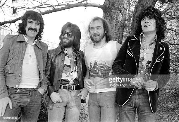 Manny Charlton Darrell Sweet Pete Agnew and Dan McCafferty of the Scottish rock band Nazareth posing for a group shot in April 1975 in Copenhagen...