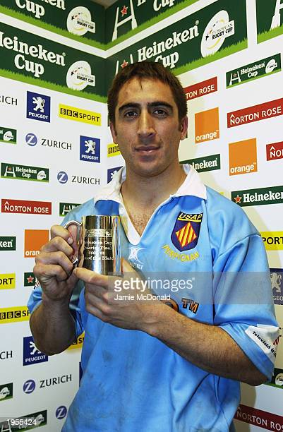 Manny Edmonds of Perpignan wins the Heineken player of the match during the Heineken Cup Quarter Final match between Llanelli and Perpignan held on...